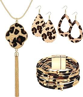 Statement Leopard Jewelry Set for Women Leopard Leather Bracelet Teardrop Drop Dangle Earrings Long Tassel Pendant Necklace Christmas Jewelry Gift