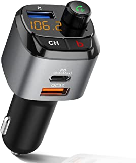 IMDEN Bluetooth FM Transmitter for Car, QC3.0+Type-C PD 18W Wireless Bluetooth FM Radio Adapter Bass Sound Music Player FM...