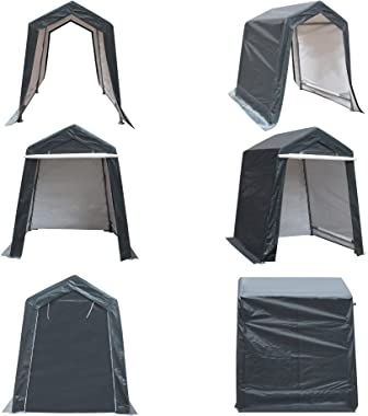 DOIFUN 6x6 ft Outdoor Storage Shelter with Rollup Zipper Door Portable Garage Kit Tent Carport Shed for Motorcycle Gardening