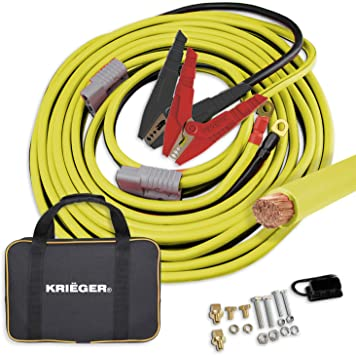 Krieger Jumper Cables for Car Battery, 100% Pure Copper Heavy Duty Automotive Booster Cables, Permanent Installation Kit and Quick Connect Plugs, 1000A Custom-Made Alligator Clamps (30 Feet, 2 Gauge): image
