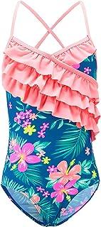 Girls One Piece Swimsuits Hawaiian Ruffle Bathing Suit Kids Floral Swimwear 3-16 Years