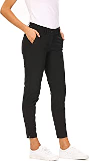 Women Pro Golf Pants Flat Front Lightweight Breathable Straight Ankle Pants with Zipper Pockets