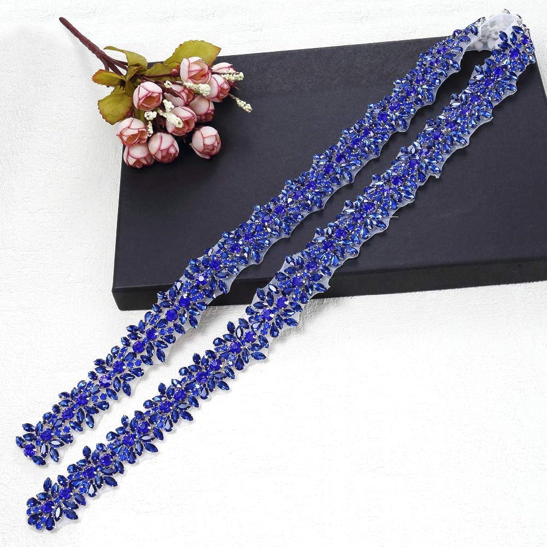 Bridal Applique for Wedding Dress Belt Sash (bluee)