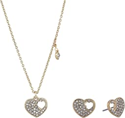 Blue by Betsey Johnson Crystal and Gold Tone Heart Pendant Necklace with Matching Heart Stud Earrings, Includes Set of Neckalce and Earrings