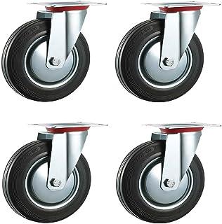 /Ruedas de alta resistencia ruedas carrito de ruedas /placa superior fija/ /Max 500/kg por Set Bulldog por /& equipo / 125/mm caucho negro Industrial ruedas giratorias/