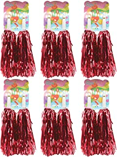 Creatiee 1 Dozen Premium Cheerleading Pom Poms, 12Pcs Hand Flowers Cheerleader Pompoms for Sports Cheers Ball Dance Fancy Dress Night Party (Red)