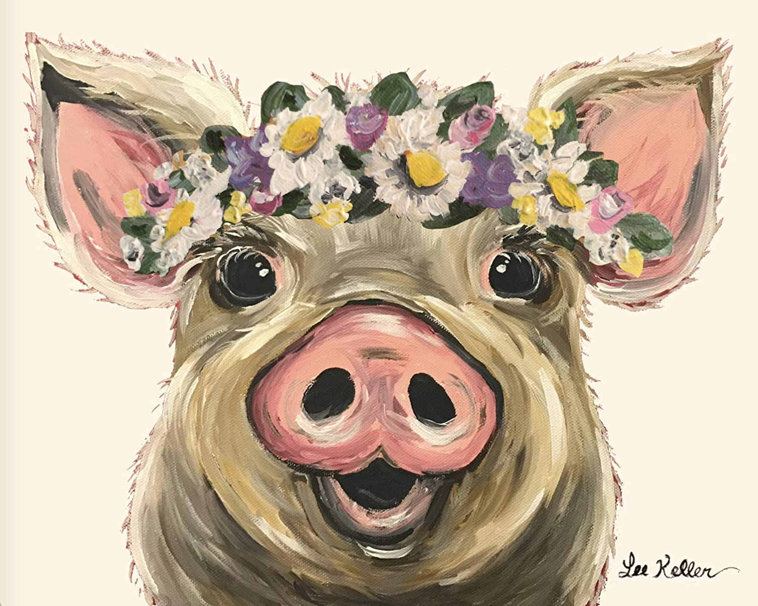 Pig Max 44% OFF with flowers art Max 78% OFF Gift 'Posey' print Lover