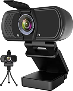 Webcam with Microphone, Hrayzan 1080P HD Webcam with Privacy Cover and Tripod, Streaming Computer Web Camera with 110-Degr...