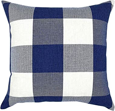Lemoning Striped Plaid Linen Pillowcase Upholstered Sofa Cushion Cover 18x18In, Cushion Cover Pillow Case Home Decor Living Room for Easter