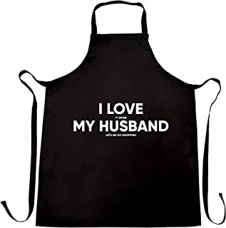 I Love My Husband Chefs Apron When He Lets Me Go Shopping Black One Size