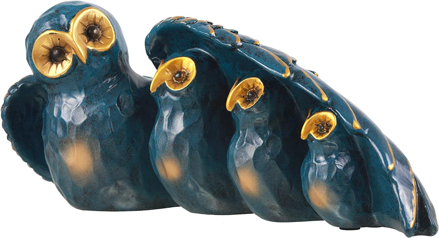Mixiflor Owl Statue Decor - Teal & Gold Owlets Figurine - Decorative Piece for Bedroom, Living Room - Mini Sculpture for Bookshelf, Table or TV Stand Display - Animal Collectible & Home Decoration