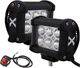 ALLEXTREME 6 LED Fog Light 4-inch Double Output Power Spot Flood Water Resistant Driving Lamp with Handlebar Switch for Motorcycle Bike Car Off-road ATV SUV (18 W) -2 Pieces