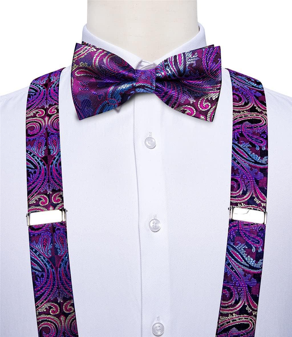 HLDETH Purple Floral Men's Suspenders Bow Tie Set Elastic Y-Back 6 Clips Braces Wedding Party Accessories Suspenders (Color : A, Size : Adjustable)