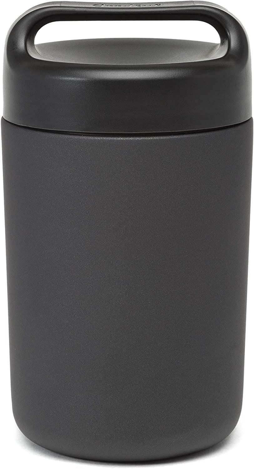 Goodful Vacuum Sealed Insulated Food Jar with Handle Lid, 16 Ounce Stainless Steel Thermos, Lunch Container, 16 Oz, Gray