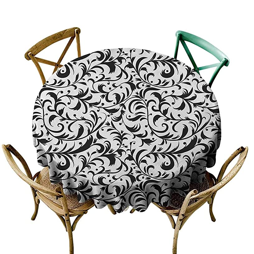 The pattern round table cloth 54 inch Floral,Monochrome Leaves Branches with Swirled Design Nature Inspirations Abstract Pattern, Black White Printed Indoor Outdoor Camping Picnic Circle Table Cloth