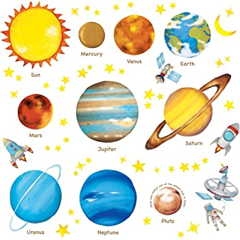 DECOWALL DW-1307 Planets in the Space Kids Wall Stickers Wall Decals Peel and Stick Removable Wall Stickers for Kids Nursery Bedroom Living Room décor