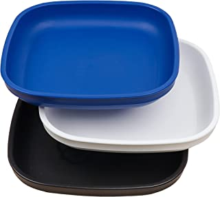 Re-Play Made in USA 3pk Plates with Deep Sides for Easy Baby, Toddler, Child Feeding - Navy, White, Black (Droid)