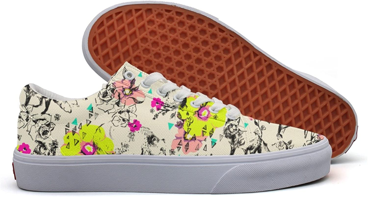 Floral Bunny Rabbit Fox Forest Women's Casual Sneakers Footwear Cool News Vegan