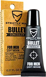 Bullet Concealer for Men by Strictly Man Supply Co. | Spot Targeting Face Camouflage Corrector with Hyaluronic & Salicylic Acid | Grooming for the Industrious Man | Light-Medium, 0.27 Ounces
