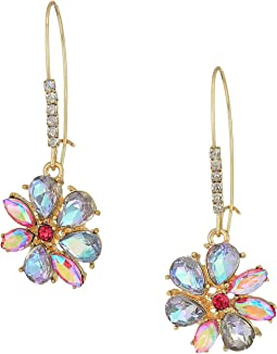 Blue and Gold Flower Drop Earrings