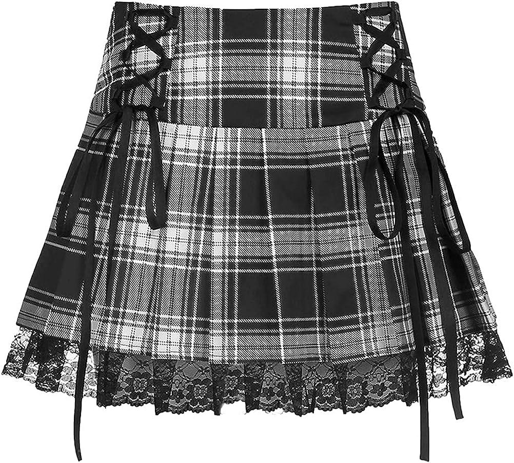 IDEALSANXUN Womens Lace Up Plaid Pattern Pleated Short Skirts