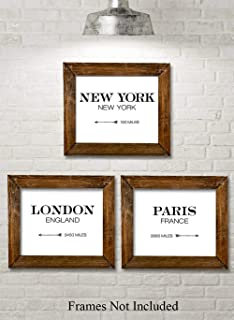 London New York Paris Directionals - Set of 3-11x14 Unframed Typography Art Prints - Great Restaurant Decor Under $25