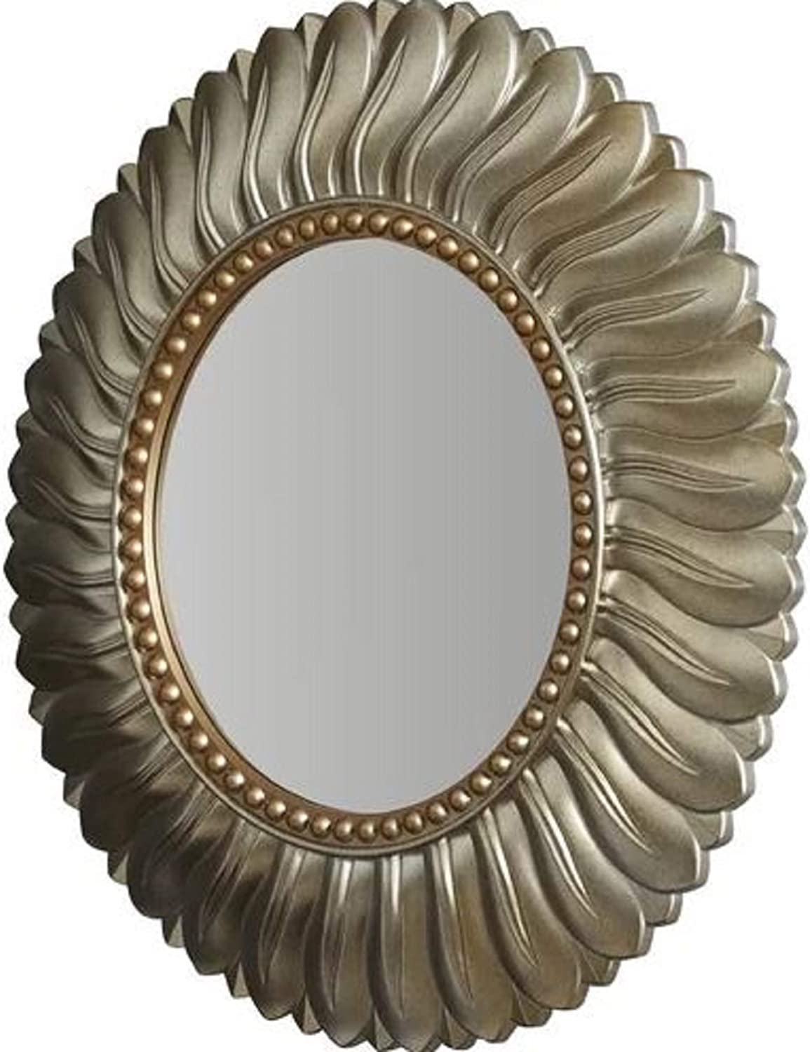 House Decoration Modern Accent Mirror. Feathered Design Karn greenical Round Resin Wall House Decoration Modern Accent Mirror with Nailhead Trim gold