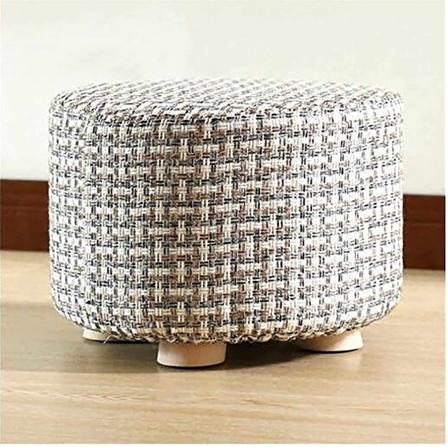 AIDELAI Bar Stool Chair- Solid Wood Change shoes Stool Footstool Test shoes Stool Round Upholstered Footstools 4 Wood Leg Pouffes Stool Fabric Cover Saddle Seat (color     4)