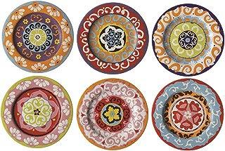 Rose & Tulipani Nador Conjunto de 6 Platos de Color Estilo mediterráneo mezclando 13 cm