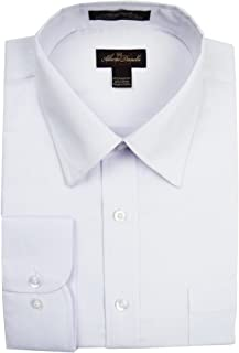 Alberto Danelli Men's Solid Long Sleeve Dress Shirt, Cotton Button Down
