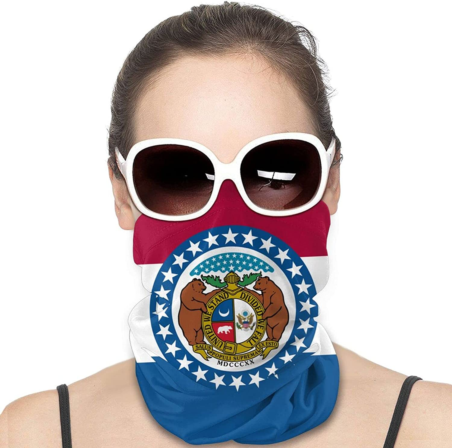 Missouri State Flag Round Neck Gaiter Bandnas Face Cover Uv Protection Prevent bask in Ice Scarf Headbands Perfect for Motorcycle Cycling Running Festival Raves Outdoors
