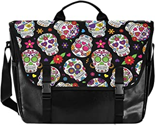 Ordenador portátil Casual Canvas Satchel Messenger Bag Hombro Bolsa para Hombres Mujeres Estudiante Halloween Sugar Skull ...