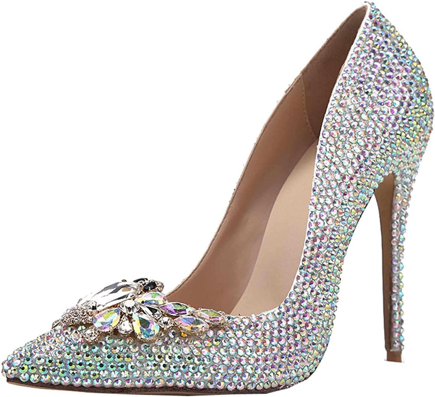TDA Women's Pointed Toe Butterfly Dazzling Rhinestones Patent Leather Evening Party Dress Sexy Stiletto shoes