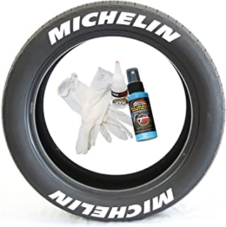 Tire Stickers Michelin Tire Lettering - Permanent Decals with Glue & 2oz Bottle Touch-Up Cleaner / 19-21 Inch Wheels / 1.00 Inches/White / 8 Pack