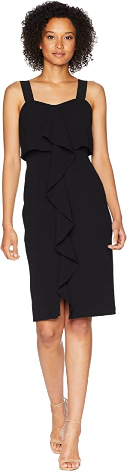 Textured Crepe Cascading Drape Midi Dress