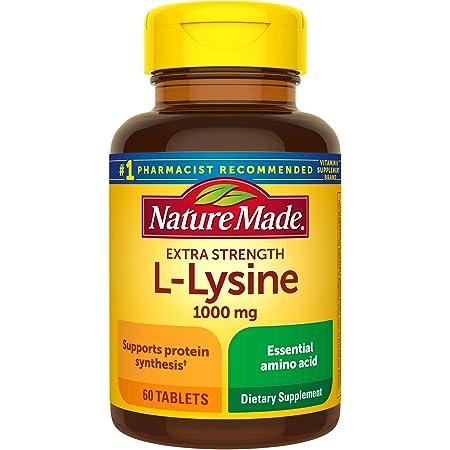 Nature Made Extra Strength L-Lysine 1000 mg Amino Acid, 60 Tablets