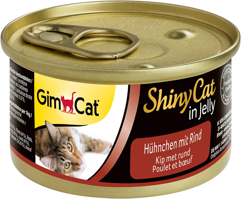 GimCat 414591 ShinyCat in Jelly Pollo con Vacuno, 24 x 70 g, 1680