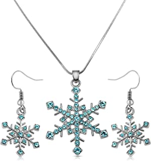 Snowflake Necklace and Dangle Earrings Christmas Jewelry Gift Set for Winter Fashion, Women Teens Stocking Stuffer Ideas