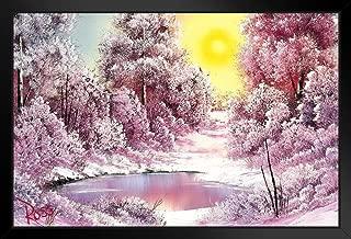 Bob Ross Winter Sun Art Print Painting Black Wood Framed Art Poster 14x20