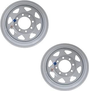 Two Heavy Duty Equipment Trailer Rims Wheels 16 in. 16X6 8H White Spoke Design