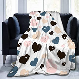 """Fleece Blanket 50"""" x 60""""-Hand Drawn Hearts. Home Flannel Fleece Soft Warm Plush Throw Blanket for Bed/Couch/Sofa/Office/Camping"""
