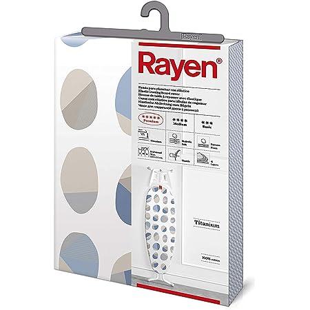 Rayen | Funda para tabla de planchar Universal | Con recubrimiento de titanio | 122 x 44 cm | Blanco Estampado
