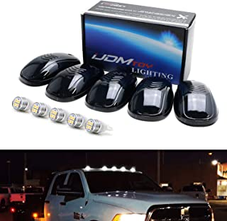 iJDMTOY Smoked Lens White LED Cab Rooftop Marker Lamps For Chevrolet Dodge GMC Ford RAM Nissan Toyota Trucks, 5-Piece Roof Running Light Set