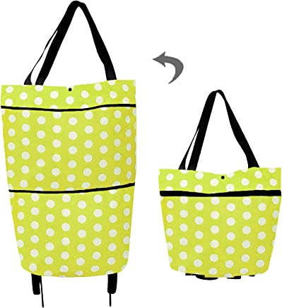 Collapsible Shopping Cart with Wheels Reusable Shopping Trolley Bag Folding Shopping Bag Grocery Bags for Women Home Kitchen Supermarket (Green Dots)