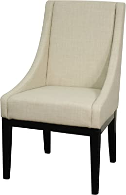 New Pacific Direct Houston Fabric Chair,Black Legs,Linen Beige