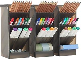 3 عدد سازمان دهنده میز بزرگ- ذخیره ساز سازمانی قلم برای دفتر ، مدرسه ، لوازم خانگی ، دارنده ذخیره سازی قلم سفید شفاف ، ظرفیت بالا ، مجموعه 3 ، 12 محفظه (دارنده قلم بزرگ سیاه)