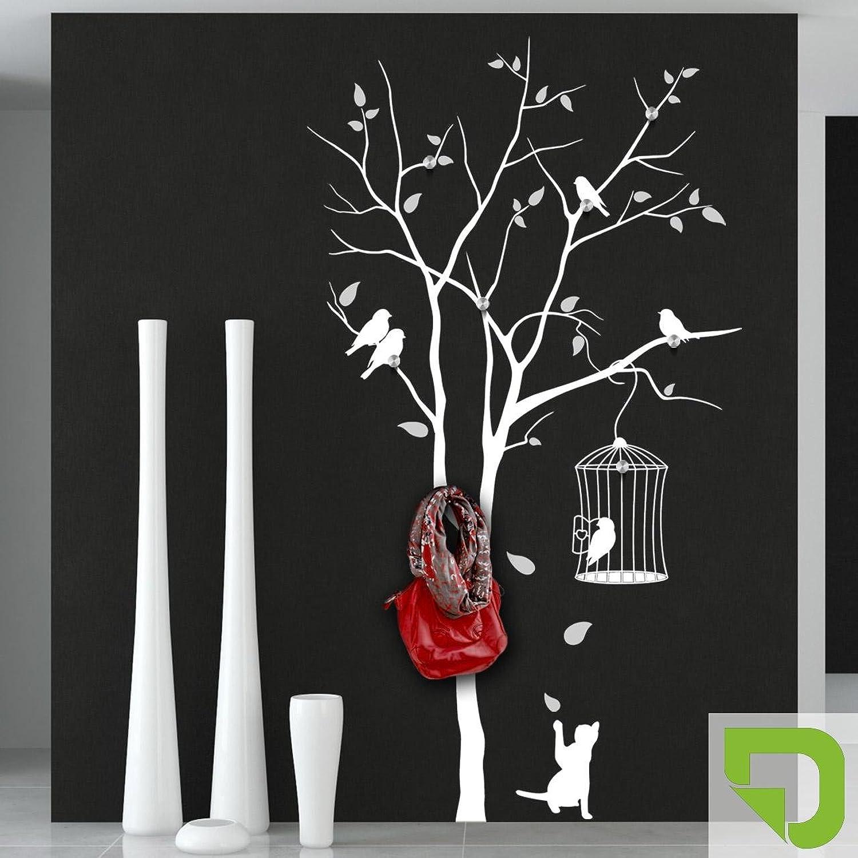 DESIGNSCAPE Garderobe Baum mit Vogelkfig und andersfarbigen Blttern mit 8 Garderobenhaken 87 x 160 cm (Breite x Hhe) Farbe 1  lindgrün inkl. 8 Edelstahl Wandhaken DW811006-M-F16