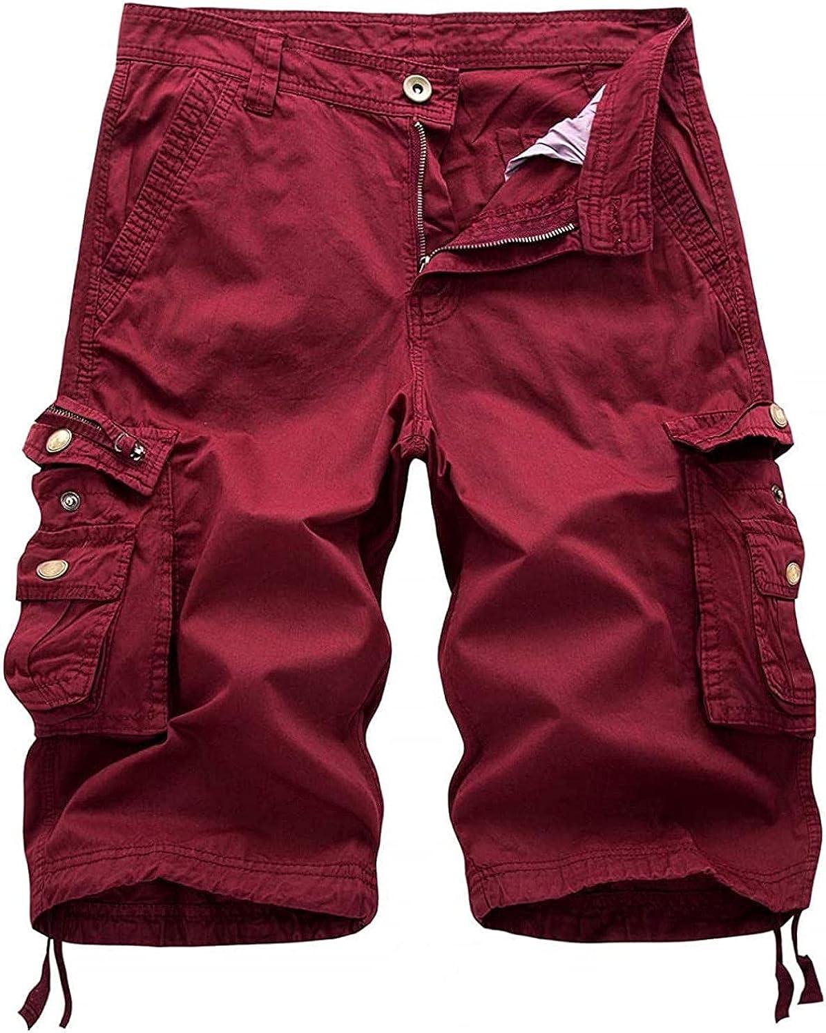 HFStorry Men's Comfy Natural Waist Straight Leg Knee-Length Bermuda Work Cargo Shorts Wine Red