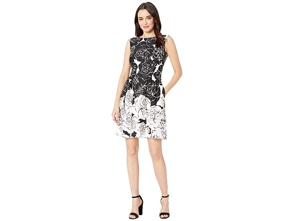 Taylor Rose Print Ombre Fit and Flare Dress (Black/White) Women