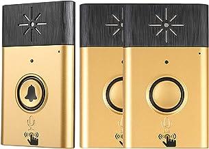 Draadloze deurbel, Smart Voice Intercom deurbel set met 1 buitendeurbel en 2 binnendeurbel toegangscontrolesysteem binnen...